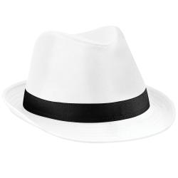 Beechfield Unisex Fedora hatt L/XL Vit svart