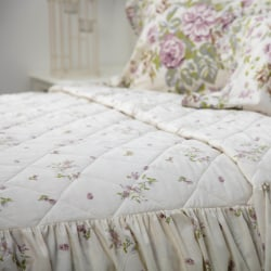 Belledorm Rose Boutique Fitted Bedspread Double Ivory / Pink / G