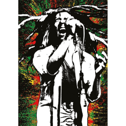 Bob Marley Måla vykort A6 Flerfärgade