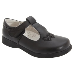 Boulevard Girls Touch Fastening T Bar Shoes 6 UK Svart Matt