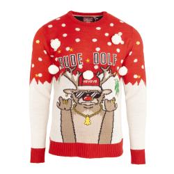 Brave Soul Christmas Rude Dolf` Jumper för herrar L Röd