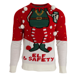 Brave Soul Herr Elf & Safety Christmas Jumper M Röd vit