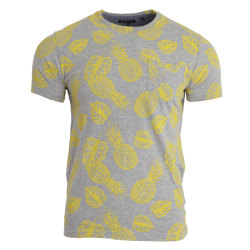 Brave Soul Män ananas tryck Crew Neck T-shirt M Grå Marl / Gul