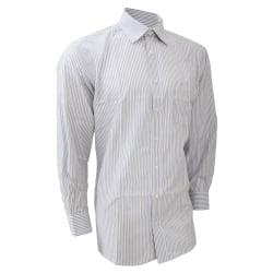 Brook Taverner Herr Rufina långärmad skjorta 16 Vit / grå rand