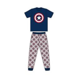 Captain America Mens kortärmad pyjamas för män S Marinblå / Grå Navy/Grey S