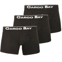 Cargo Bay Mens Button Fly Boxers (paket med 3) S Svart