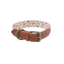 Cath Kidston Provence Rose Leather Dog Collar Medium Brun / Grön