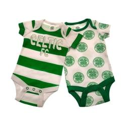 Celtic FC Baby Babysuit (2-pack) 6-9 Months Vit / Grön
