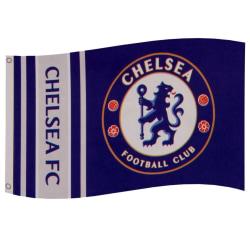 Chelsea FC Wordmark Stripes Flagga One Size Blå