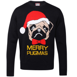 Christmas Shop Vuxna Merry Pugmas Jumper 2XL Svart