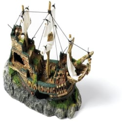Classic Polyresin Galleon With Sails Fish Tank Ornament 33cm Bru