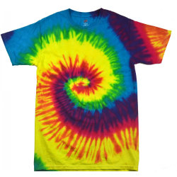 Colortone Barn / barns regnbågens slips-tung färg T-shirt L Regn