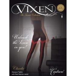 Couture Dam / Vixen Charlie Opaque Tights med söm (1 par) Medium