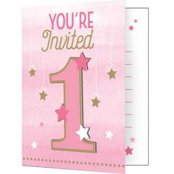 Creative Converting One Little Star Girl Pink / Gold Inbjudnings