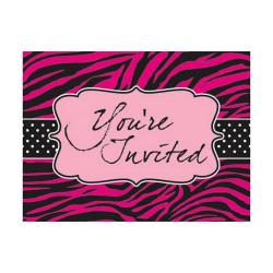 Creative Converting Pink Zebra Boutique Inbjudningskort (paket m