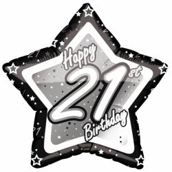 Creative Party Glad 21st födelsedag svart / silver stjärna ballo