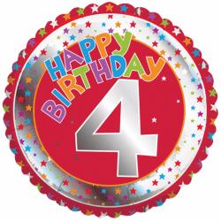 Creative Party Grattis 4-årsdag Milestone Balloon 18in Flerfärga