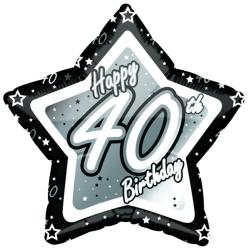 Creative Party Grattis 40-årsdag svart / silver stjärna ballong