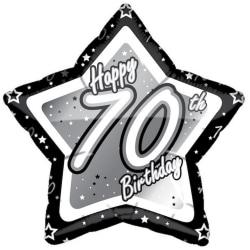 Creative Party Grattis 70-årsdag Svart / Silver Star Balloon 18