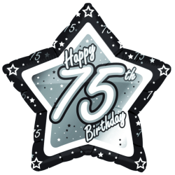 Creative Party Grattis 70-årsdag Svart / Silver Star Balloon 18i