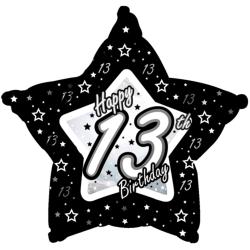 Creative Party Happy 13th Birthday Black / Silver Star Balloon 1
