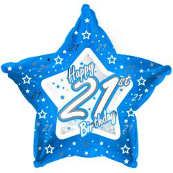 Creative Party Happy 21st Birthday Blue Star Balloon 18in Blå