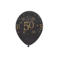 Creative Party Latexballonger i svart runda tryck (paket med 6)