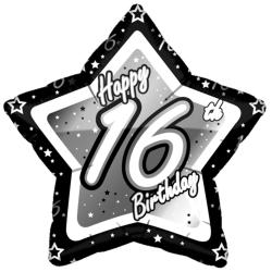Creative Party Lycklig 16-årsdag svart / silver stjärna ballong