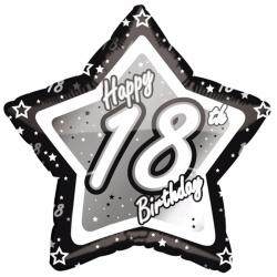 Creative Party Lycklig 18-årsdag svart / silver stjärna ballong