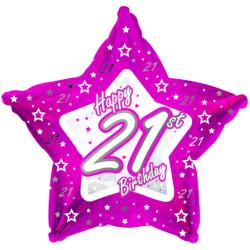 Creative Party Lycklig 21st födelsedag rosa stjärna ballong 18in