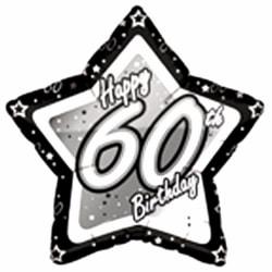 Creative Party Lycklig 60-årsdag svart / silver stjärna ballong