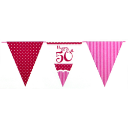 Creative Party Perfekt rosa lycklig 50-årsdag Bunting One Size R
