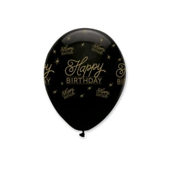 Creative Party Svart all Round Happy Birthday Print Latex Balloo