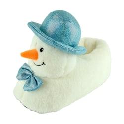 Damer / damer 3D snögubbe tofflor 3-4 UK Vit blå