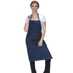 Dennys Tvättad denim förkläde One Size Rå blå denim