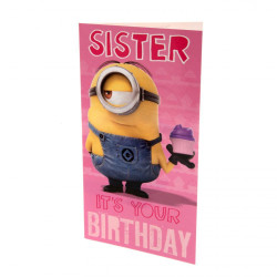Despicable Me Minion syster födelsedagskort One Size Rosa / gul