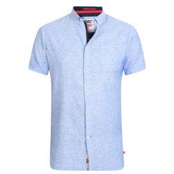 Duke Herr Brixton-2 Kingsize Linen Blend Shirt XXL Ljusblå