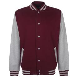 FDM Unisex Varsity / University Jacket (kontrastärmar) M Bourgog