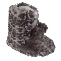 Flickor Leopard Print Boot Tofflor med rosett och Pom-Poms UK Sh
