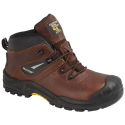 Grafters Conker Tumbled Leather Laced Safety Boot 10 UK Brun