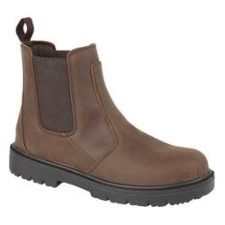 Grafters Män Brun Waxy Leather Safety Stövlar 6 UK Brun