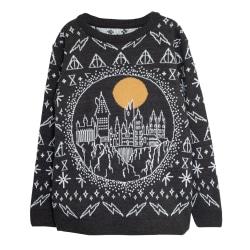 Harry Potter Mens Hogwarts Stickad jultröja 3XL Svart