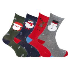 Juldesigns nyhetsstrumpor för män (4 par) 7-11 UK, 41-46 EU Röd