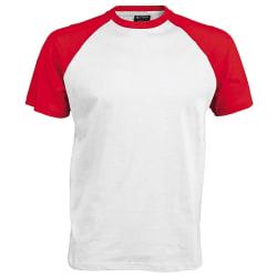 Kariban Kortärmad basebolltröja för män M Vit röd