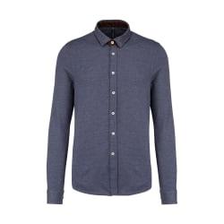 Kariban Långärmad Jacquard stickad skjorta för män XXL Blå