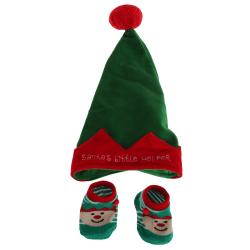 Nursery Time Babys Santas Little Helper Hat And Socks Set Up to