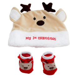 Nursery Time Min första jul baby hatt och strumpor One Size Kräm