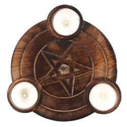 Pentagram te ljus hållare One Size Trä