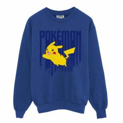 Pokemon Mens Pikachu Sweatshirt L Royal Blue / Yellow