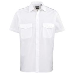 Premier Herrskjorta kortärmad pilot vanligt arbetsskjorta 17 Vit